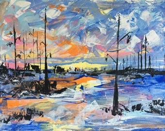 "Swamp Painting Art Acrylic Original // ""Swamp Evening"" 18 x 24"
