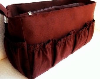 Diaper Purse insert fits Louis Vuitton Delightful MM- Diaper Bag organizer in Coffee Brown solid fabric