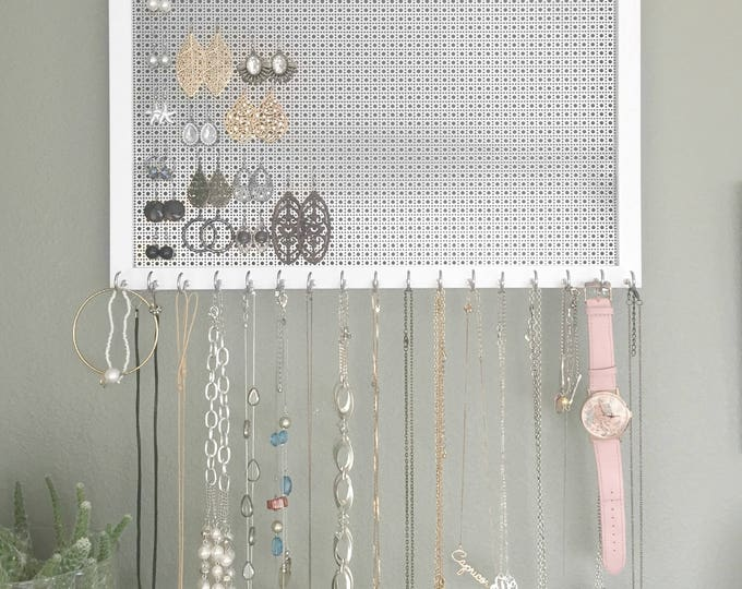 Ultimate Jewelry Organizer - 13x17 White Frame - Metal Screen for Hook Earrings - 17 Necklace Hooks