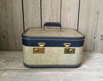 vintage blue tan suitcase, small luggage, small train case