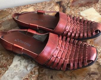 Brown Leather Vintage 90s St Johns Bay Slingbacks size 7.5