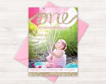First Birthday Invitation, One Gold Glitter, Birthday Invitation Kids, Pink Gold Invitation, Girl Photo Invite, Pink Gold Birthday Party