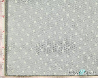 "Cream Beige Point D'Esprit Mesh with Dot Fabric 2 Way Stretch Nylon 52-53"" 150478"