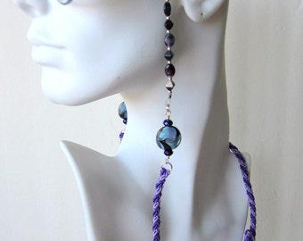 Hand Braided and Beaded Eye Glass Lanyard / Holder / Chain / Leash - Eye See Purple