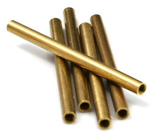 raw brass tube 4 pcs 5 x 70 mm (hole 4 mm M4 thread) industrial brass charms, pendant, findings spacer bead ttt570