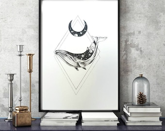 Framed Galax-SEA Whale Bohemian Dotwork Drawing with Gold Detail Art Print