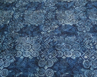 Geometric Navy-Blue Batik Cotton Fabric from Michael Miller Fabrics