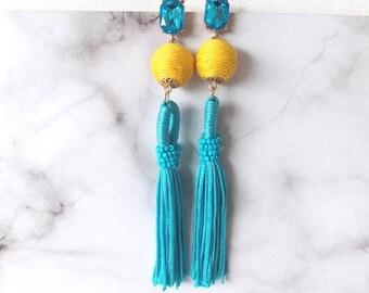 Turquoise and Yellow Tassel Boho Earrings
