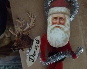 Vintage Victorian Santa ornaments