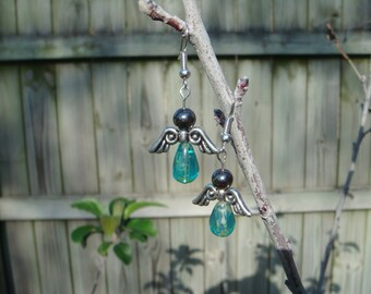 Angel Earrings Green Religious Holiday