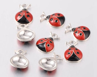 5 pendants Ladybug charms 19x13mm enamelled