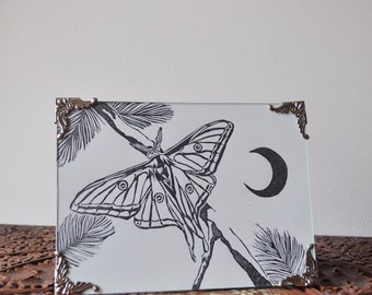Illustrated 'By The Moon' Hand Printed Lino Print A5