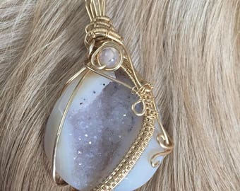 Unique White Agate Geode with a Complimenting Agate Dragon Bead Meticulously Wrapped in Gold