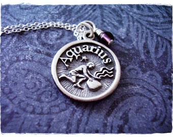 Sterling Silver Aquarius Necklace - Sterling Silver Aquarius Charm on a Delicate Sterling Silver Cable Chain or Charm Only