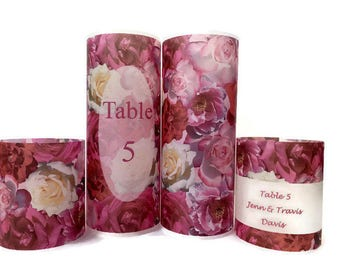 Rose wedding luminary, Floral table number, Wedding reception luminaries, place card name holder, Vellum luminaries, Table decor Centerpiece
