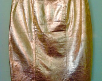1980 80s / 1970's 70s / Vintage Metallic Gold Leather Skirt / Glam / Disco / Punk / Roller Rink