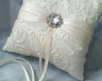 Ivory Ring Bearer Pillow 3D Ruffle Lace Ring Pillow Rhinestone Accent