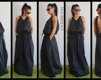 Black Maxi Dress, Summer Dress, Day Dress, Wedding Guest dress, Maxi Dress, Long Dress, Backless Dress, Cotton Dress, Women Kaftan