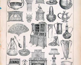 1908 Modern Style Decor Print:  French Dictionary Paper Ephemera Antique Larousse