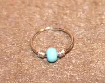 Small Cartilage Earrings, Turquoise Beaded Nose Ring, Nose Hoop,  Ear Cuff, Helix Hoop, Nose Rings, Seamless Hoop, Piercing Jewelry