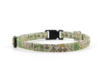 Camping Collar // Cats & Little Dogs // 3/8 inch width // Breakaway or Standard Buckle // Fabric: Campground Clutter