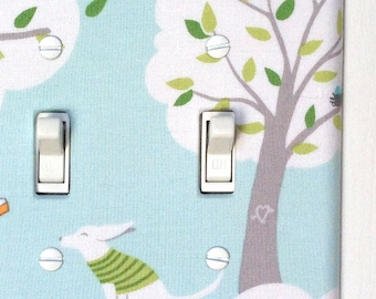 Fabric Double Standard Light Switch Plate Cover, double toggle - windy day - blue with gray tree, clouds, dog, swing, and leaves