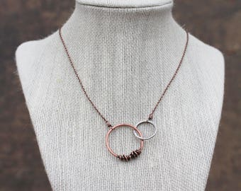 Interlocking Hoops Necklace, Oxidized Sterling Silver, Copper, Wire Jewelry