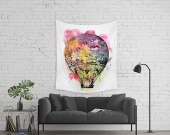 Watercolor tapestry, Hot air balloon tapestry, Unique wall art, Wall hanging home decor, Art tapestries, Boho tapestry, Wap108