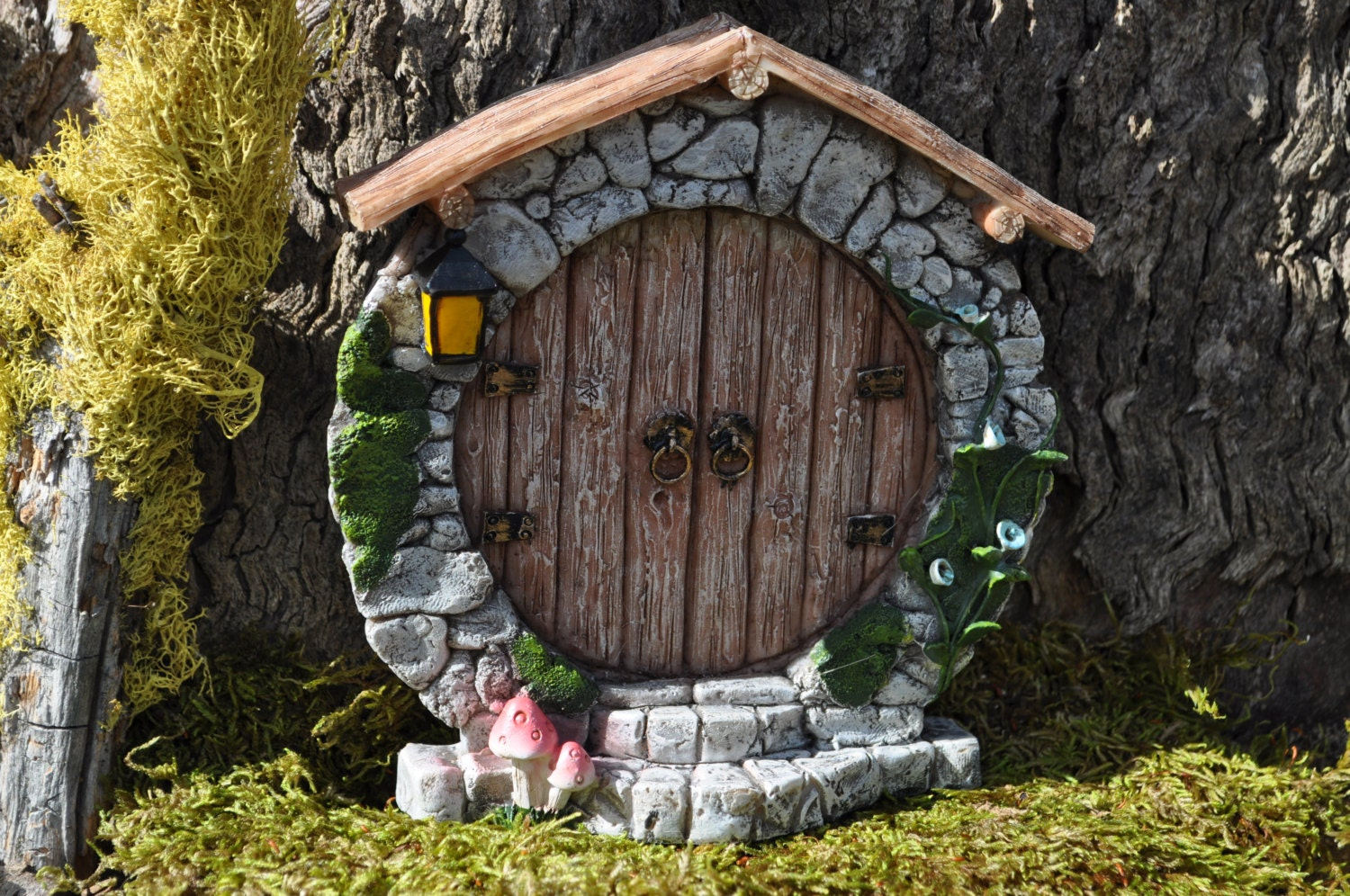 Fairy Door Round Hobbit Whimsical Fairy Garden DoorFairy