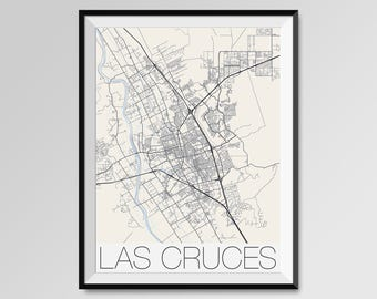 LAS CRUCES New Mexico Map, Las Cruces City Map Print, Las Cruces Map Poster, Las Cruces Art, Las Cruces gift, New Mexico State University
