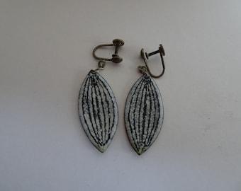 Vintage Circa 1960 Earrings. Enamel on copper