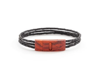 Bracelet - Wooden Clasp with Leather Band - Magnetic Closure, Gift for Dad, husband, brother.  Stylish and Contemporary look