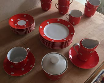 Vintage Red White Dot Porcelain coffee and desert service,Kahla