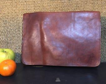 Vintage 1990's Brown Leather Purse / Make Up Case / Pencil Case / Tablet Pouch