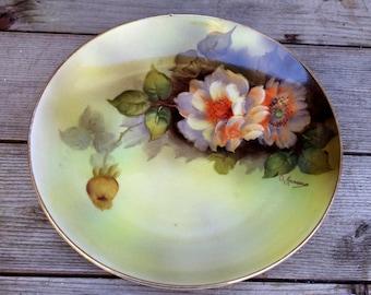 "Noritake Japan  Plate, Roses , Handpainted, Signed, 7 1/2"""