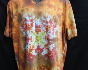 Tie Dye Top, Mens Vneck Shirt, Size XLarge, Oranges and Yellow - Ready to ship - Free Shipping