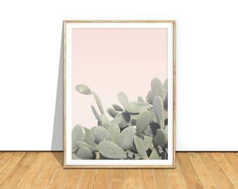 Cactus Print, impression de cactus, désert Wall Art Poster, minimaliste Art imprimable Télécharger, rose bohème chic, Pastel décor sud-ouest, c2c2c2