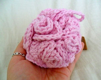 Pink Bath Pouf - Pink Bath Puff - Pink Bath Loofah - Cotton Bath Pouf - Cotton Bath Puff - Cotton Bath Loofah - Pink Bath Scrubbie