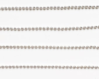 Silver, bronze or gold ball chain 1,5mm (1 metre)