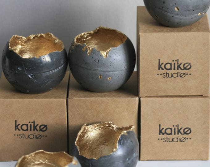 Concrete Sphere Candleholder | Concrete Planter | Grey & Gold | Urban | Industrial | Rustic