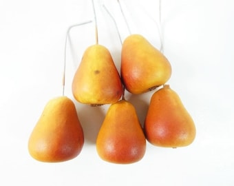 5 Brown Red Pears Small Pears Mini Pears Fake Pears Artificial Pears Craft Pears Fake Fruit Artificial Pears