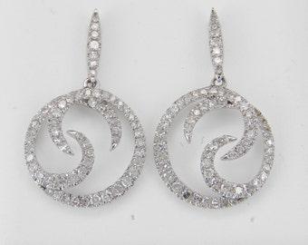 Diamond Earrings Dangle Drop Circle Earrings 14K White Gold Wedding Gift
