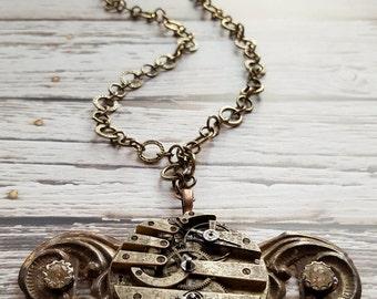 Vintage steampunk metal necklace, (handmade)