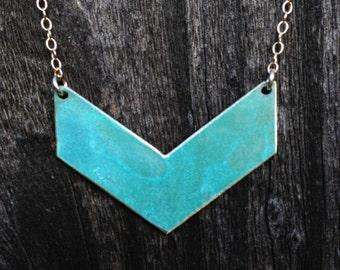 Chevron Patina Necklace-brass, gold,modern, minimalist,chevron,turquoise,necklace, custon,metalwork,gift idea,christmas present