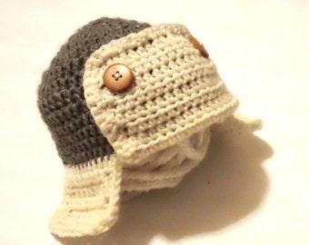 READY Aviator hat, beanie, bomber hat, crochet hat knitted hat KIDS BEANIE. Newborn hat.