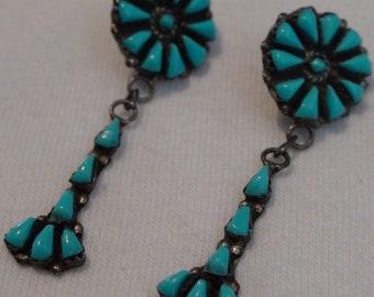 Native American Zuni Silver Turquoise Stone Dangle Post Earrings
