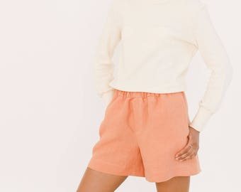 Coral hemp shorts - High waisted shorts - Womens vegan clothing