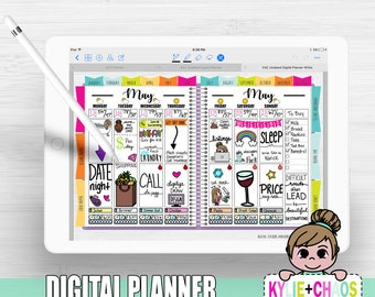 Digital Planner for GoodNotes on IPhone and IPad with functioning tabs