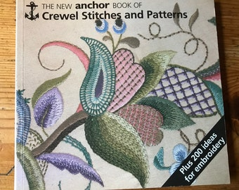 1991 The New Anchor Book of Crewel Stitches and Patterns vintage paperback