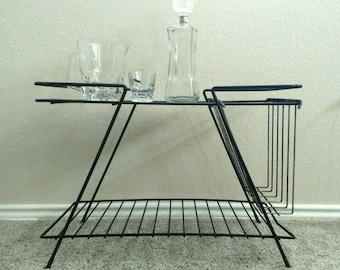 Vintage metal telephone table, end table, side table, magazine rack, magazine holder, black